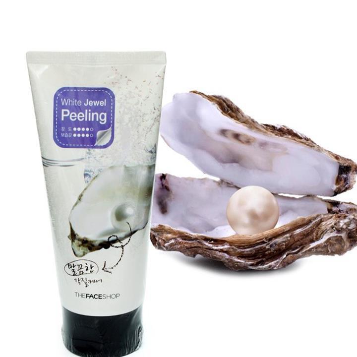 Sữa rửa mặt Tẩy tế bào da chết cho nam ngọc trai White Jewel Peeling The Face Shop 120ml